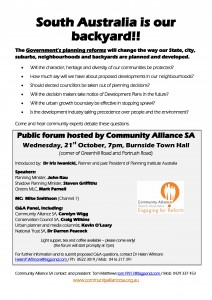 FLYER - South Australia is our backyard - Community Alliance SA forum 21st Oct 2015